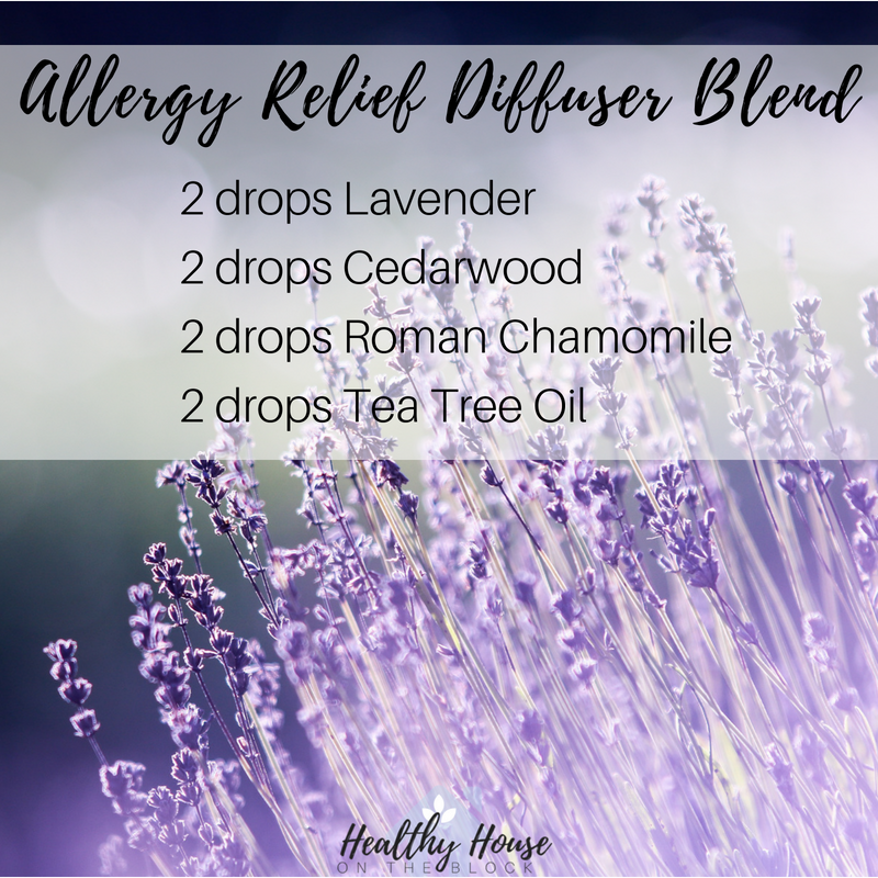allergy relief diffuser blend with lavender, cedarwood and roman chamomile with tea tree oil